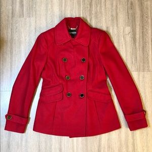 Express Red Double Breasted Wool Blend Pea Coat